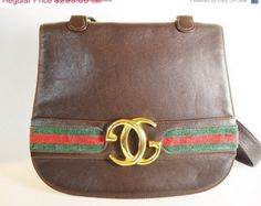 SALE 50% OFF GUCCI Red & Green Signature Webbing Brown Leather Handbag - Gucci Leather Gold Logo Shoulder Bag - Rare Gucci Leather Flap Over...
