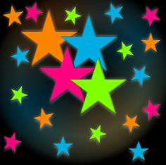 For ACE room ?Neon Stars Blacklight Reactive Wall Decorations (24 pack)