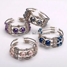 Cheap Charm Bracelets, Buy Directly from China Suppliers: Glass Pearl Bead Bracelets, Steel Bracelet Memory Wire with Brass Tube Beads, Antique Silver, Mixed Color Size Memory Wire Jewelry, Memory Wire Bracelets, Metal Bracelets, Metal Jewelry, Beaded Jewelry, Beaded Bracelets, Wrap Bracelets, Handmade Jewellery, Charm Bracelets
