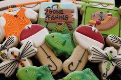Gone fishing cookies, fish cookies, custom cookies, Father's Day cookie, birthday cookies, fishermen, mens gift, sugar cookies by 4theloveofcookies on Etsy https://www.etsy.com/listing/241144625/gone-fishing-cookies-fish-cookies-custom