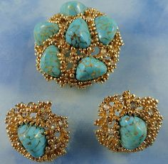 Stunning Signed Boucher Turquoise Stone Swarovski Crystal Brooch Set  ~ Book Piece 265