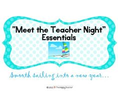 """Everything you need to make """"Meet the Teacher Night"""" a success!!"""