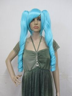 26.80$  Watch here - http://aimmv.worlditems.win/all/product.php?id=581200024 - Vocaloid.Haku.1715.Turquoise long double clip ponytail cosplay wig, cos anime wig, free shipping
