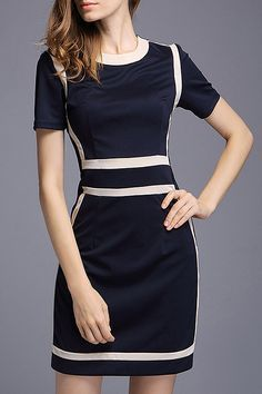 Hit Color Zip UP Work Dress #Working_Woman #Fashion #Work_Dresses