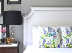 Upholstered Headboard, King, Queen, Full, Twin Size, Belgrave Shape, White Linen Fabric, Double Row Hammered Nickel Nailheads