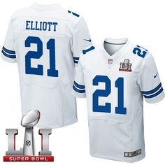 3f7a2778b Nike Dallas Cowboys Men s  21 Ezekiel Elliott Elite White Road Super Bowl  LI NFL Jersey