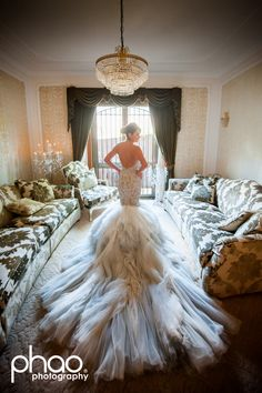 recent bride wearing J'aton couture
