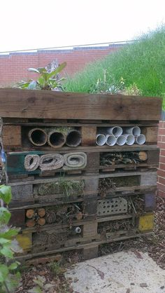 Our lovely Bug Hotel, in our school. Perfect for many different bees and other insects.