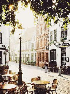 European cobblestone streets in bruges