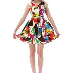 Nwot Retro Multicolor Sleeveless Graffiti Dress