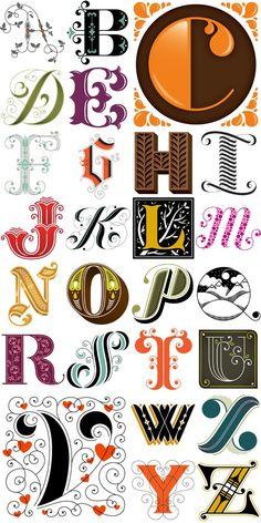 Decorated Initial Caps // more Daily Drop Caps  - illustrator + typographer Jessica Hische
