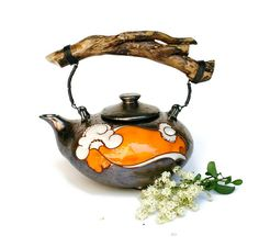 Teapot Flowers Art pottery Pottery Teapot by MMceramicdesign
