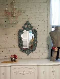 Gorgeous. Painted Cottage Chic Aqua French Mirror MR261 by paintedcottages, $75.00