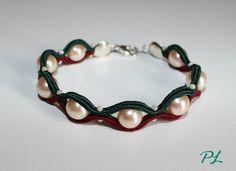 Bracciale bicolore #perle #soutache