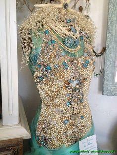 Fantastic hand decorated dress form at Vignettes, Ocean Beach. CA. http://www.vignettesantiques.com/