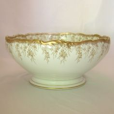 T&V Limoges France Gilt & Cream Punch Bowl, Tressemanes & Vogt