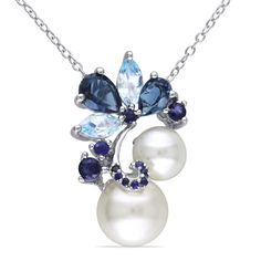 Miadora Silver Cultured Freshwater Pearl Marquise Pear and Round-cut Blue Topaz and Sapphire Drop Cluster Necklace