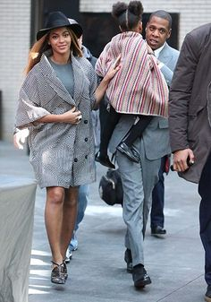 Beyoncé In a geometric coat after the Annie premiere in NYC.