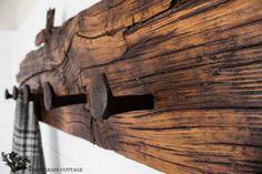 Plain distressed wood, stain, add rail road ties: coat rack