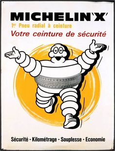 1949: Radial tyre is marketed as Michelin X.  I like this Michelin Man; he looks reallllly happy