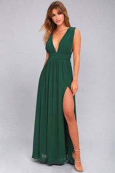 Heavenly Hues Forest Green Maxi Dress 1