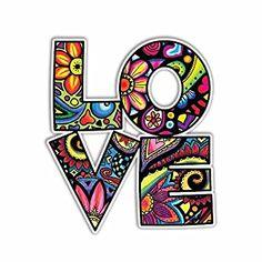 Love Car Decal Colorful Design Bumper Sticker by MeganJDesigns Love Stickers, Laptop Stickers, Bumper Stickers, Arte Hippy, Cute Car Decals, Foto Transfer, Arte Pop, Cute Cars, Marker Art