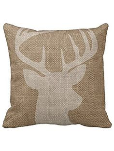 Decors Square Decorative Throw Pillow Case Cushion Cover Rustic Deer Buck Burlap Throw Pillows 18 X 18 Two Sides Printed ❤ Decors