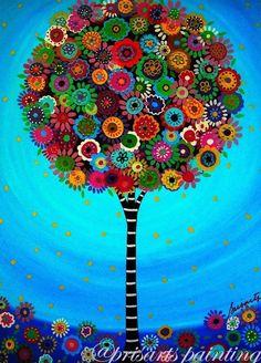 by Folk Artist Pristine Cartera-Mexican Folk Art Tree of Life Whimsical Bar Bat Mitzvah Painting PRINT Art And Illustration, Tree Of Life Painting, Art Original, Naive Art, Mexican Folk Art, Whimsical Art, Art Plastique, Tree Art, Painting Prints