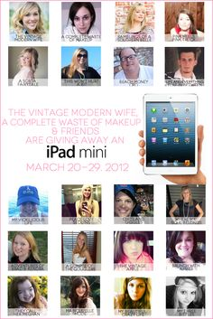 Enter this fabulous contest to win an iPad mini from all of these fabulous bloggers!