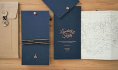 Lyndsey + Keith's Copper Foil and Navy Iceland Wedding Invitations