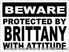 Signs and Plaques 46299: Beware Protected By Brittany W Attitude Sign. Size Options. Gift For Dog Lovers -> BUY IT NOW ONLY: $39.99 on eBay!