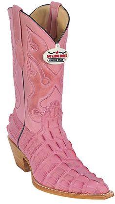 Croc Los Altos Pink Leather Print Women's Cowboy Boots Western Classics  #losaltosboots #ladiesboots #exotic