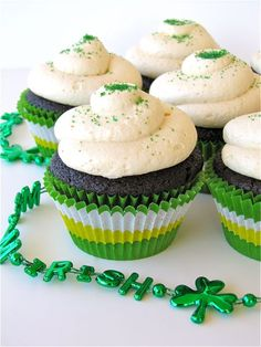 fb4890914 st patrick's day cupcakes - made w/ guinness & bailey's irish cream - has  white chocolate bailey's truffle center & bailey's buttercream frosting