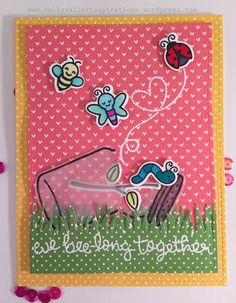 Lawn Fawn - Bugs and Kisses + coordinating dies, Grassy Border, Stitched Rectangle Stackables, Let's Polka 6x6 paper _ clever Valentine card by Holly at Holly Waller Inspirations