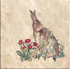 Hare tile, based on William Morris 'The Forest' tapestry