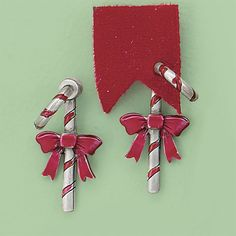 Bowed Candy Cane Illusion Post Earrings - Best Selling Gifts, Clothing, Accessories, Jewelry and Home Décor