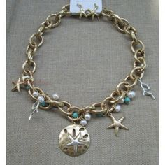 Silver Starfish On Gold Sand Dollar Statement Beach Link Necklace Earring Jewelry Set Turquoise Pearl Bead