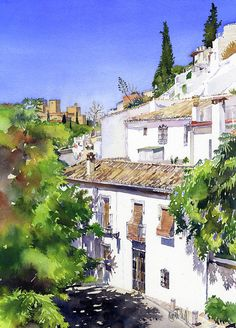 Last week I visited Granada as it would be the last opportunity to paint scenes from the City until September. It is too hot to visit Granada in July and August but also the white, hazy light of hi… Watercolor City, Watercolor Landscape Paintings, Watercolor And Ink, Watercolour Painting, Landscape Art, Watercolor Architecture, Urban Sketchers, Granada, Painting Techniques