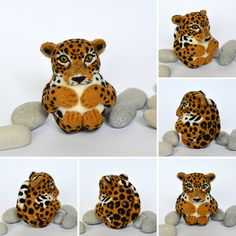Jaguar needle felted wool animal ornament ball made by Linda Brike