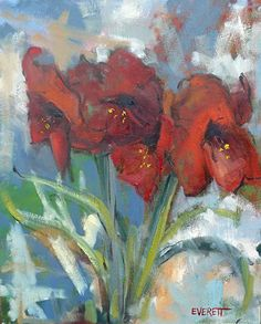 Red Amaryllis by Nancy Everett Oil ~ 20 x 16  Available at Atlanta Made