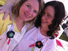 my momma and me wearing our scrappy homemade year ribbons