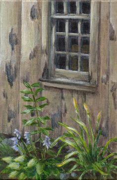 Acrylique peinture peinture petit paysage d'un vieux bâtiment - vie à la campagne pour la décoration