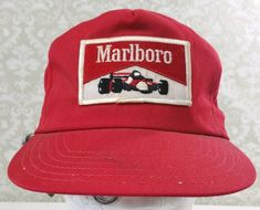 a593650962c VINTAGE MARLBORO CIGARETTE RED RACE CARLOGO USA MADE SNAPBACK HAT MADE IN  USA  Unbranded