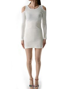 (WP01940-WHITE) Womens Crew Neck Open Shoulder Long Sleeve Mini Dress