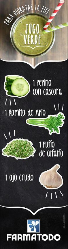Jugo verde para hidratar la piel #Salud #Alimentacion #Belleza