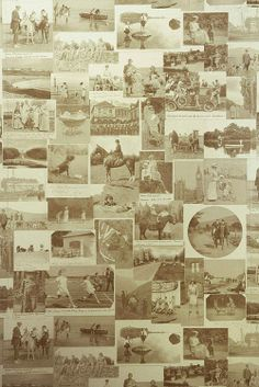 This Other Eden Wallpaper Collage of old sepia photos on gold depicting britain in the last century