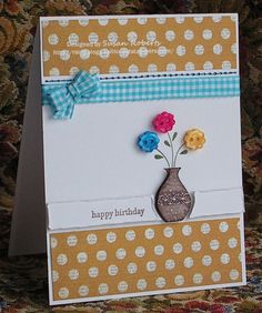 escort cards made out of buttons | The vases on both of these cards were made by inking up the stamp and ...