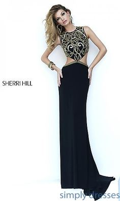 Black and Gold Long Sherri Hill Prom Dress at SimplyDresses.com