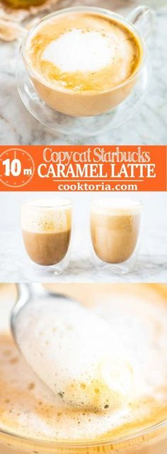 This Copycat Starbucks Caramel Latte recipe is easy to make and it's my favorite. Try one of the tastiest Starbucks espresso-based beverages at home! Starbucks Caramel Syrup, Starbucks Latte, Starbucks Recipes, Iced Caramel Latte Recipe, Starbucks Drinks, Ninja Coffee Bar Recipes, Caramel Cappuccino, Nespresso Recipes, Caramel Recipes