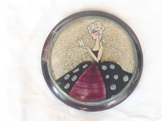 RARE ART DECO 1920'S FRENCH CELLULOID HAND PAINTED GLITTER POWDER COMPACT